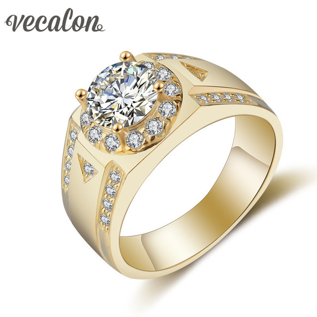 Vecalon Men Jewelry wedding Band ring 1.5ct Simulated diamond Cz Yellow gold filled 925 Sterling Silver Engagement Finger ring