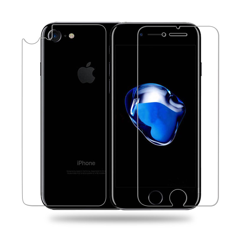 comprare popolare 31bee df96d US $0.35 |Front HD LCD Screen Protector + Back Cover trasparente Protective  Pet Film Shield For apple iphone 7 iphone 7 plus Accessories-in Phone ...