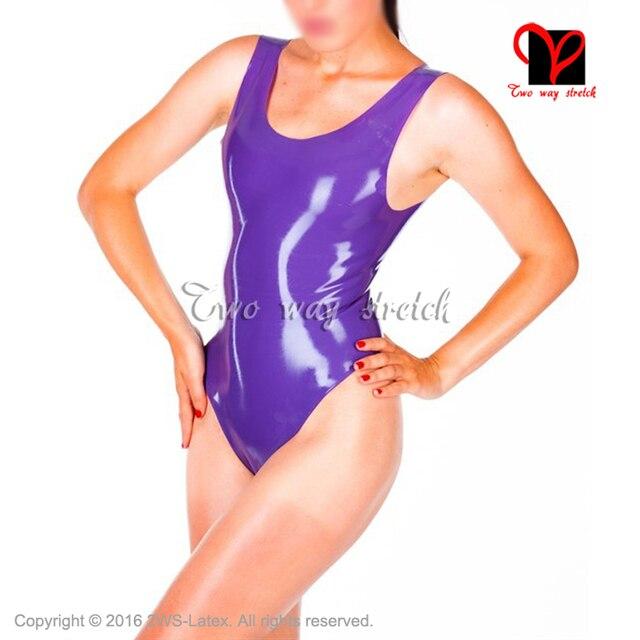 4838502fb4 Sexy purple Latex swimsuit without zip leotard Rubber bodysuit catsuit  unitard body suit size XXXL TC-029