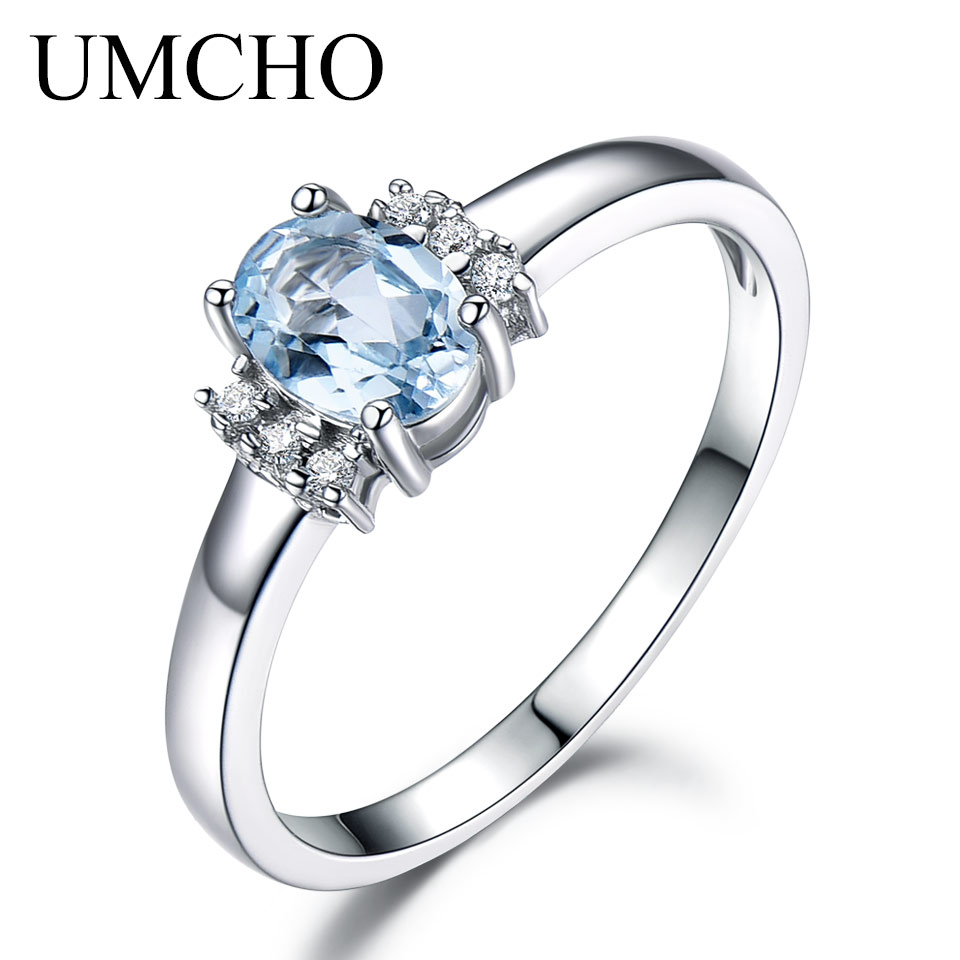 UMCHO light Blue Topaz Rings For Women 925 Sterling Silver Engagement Ring Oval Cut Wedding Fine Jewelry Birthstone Gift
