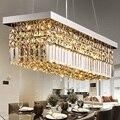 Прямоугольные современные подвесные светильники  светодиодные Хрустальные подвесные светильники  модные обеденные подвесные светильники...