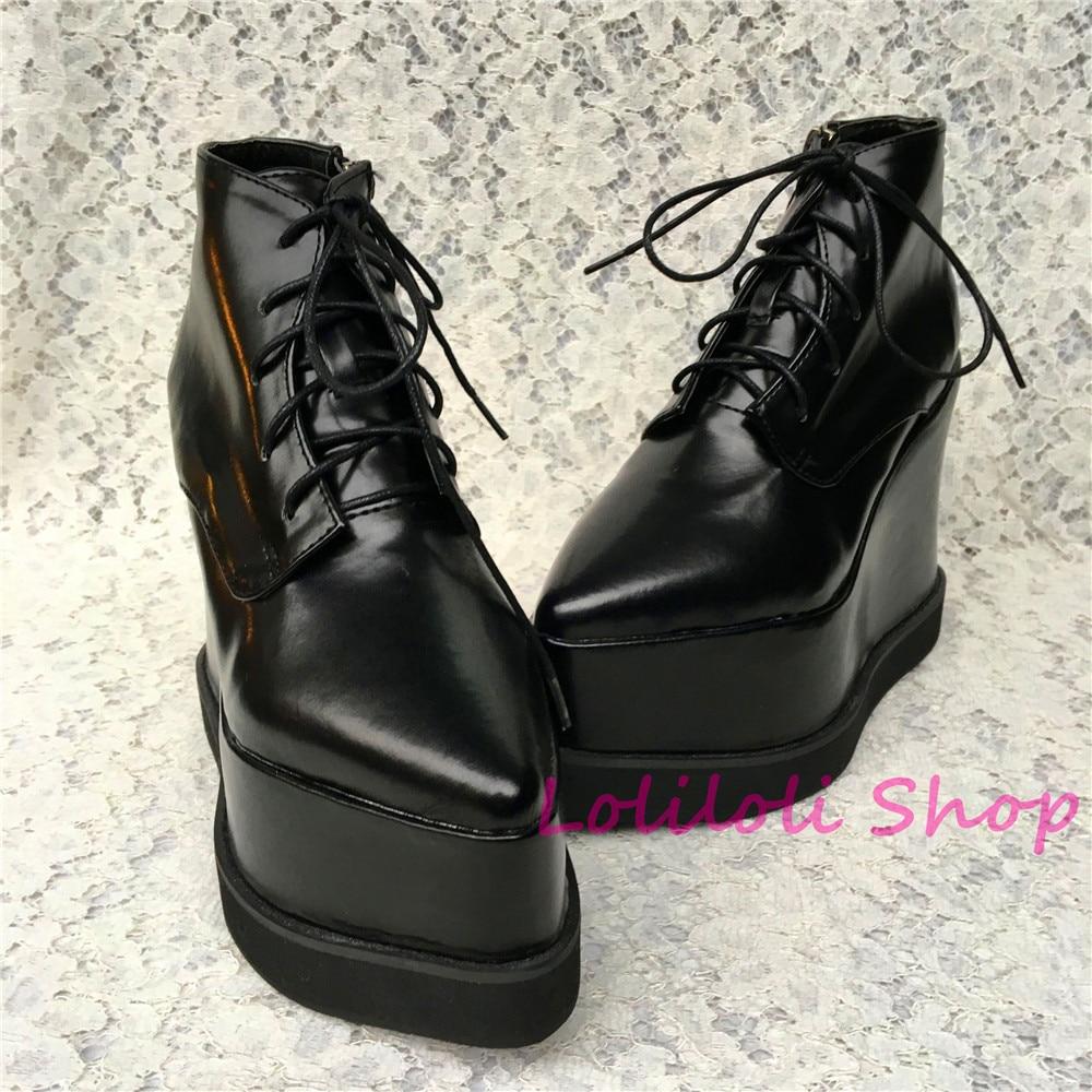 Personnalisé Noir Noir Gothique Doux Antaina Princesse multi Chaussures 1 Lolita Étape Plates Lumineuse Épais Lolilloliyoyo 5211n Peau fond 4ApqwU