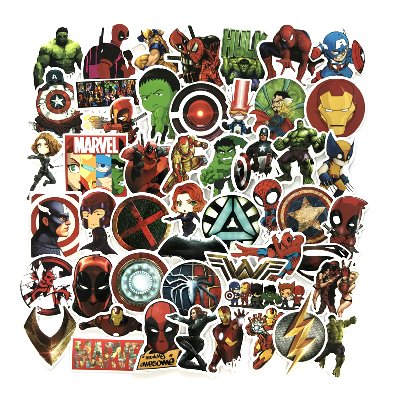 50pcs/1lot Avengers Alliance 3 Iron Man Funny Sticker Decal For Car Laptop Bicycle Motorcycle Notebook Waterproof Sticker стоимость