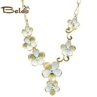 Beles Big 7 Flower Alloy Flora Necklace Women Czech Diamonds Chocker Jewellery Set Friendship Necklaces & pendants Jewelry
