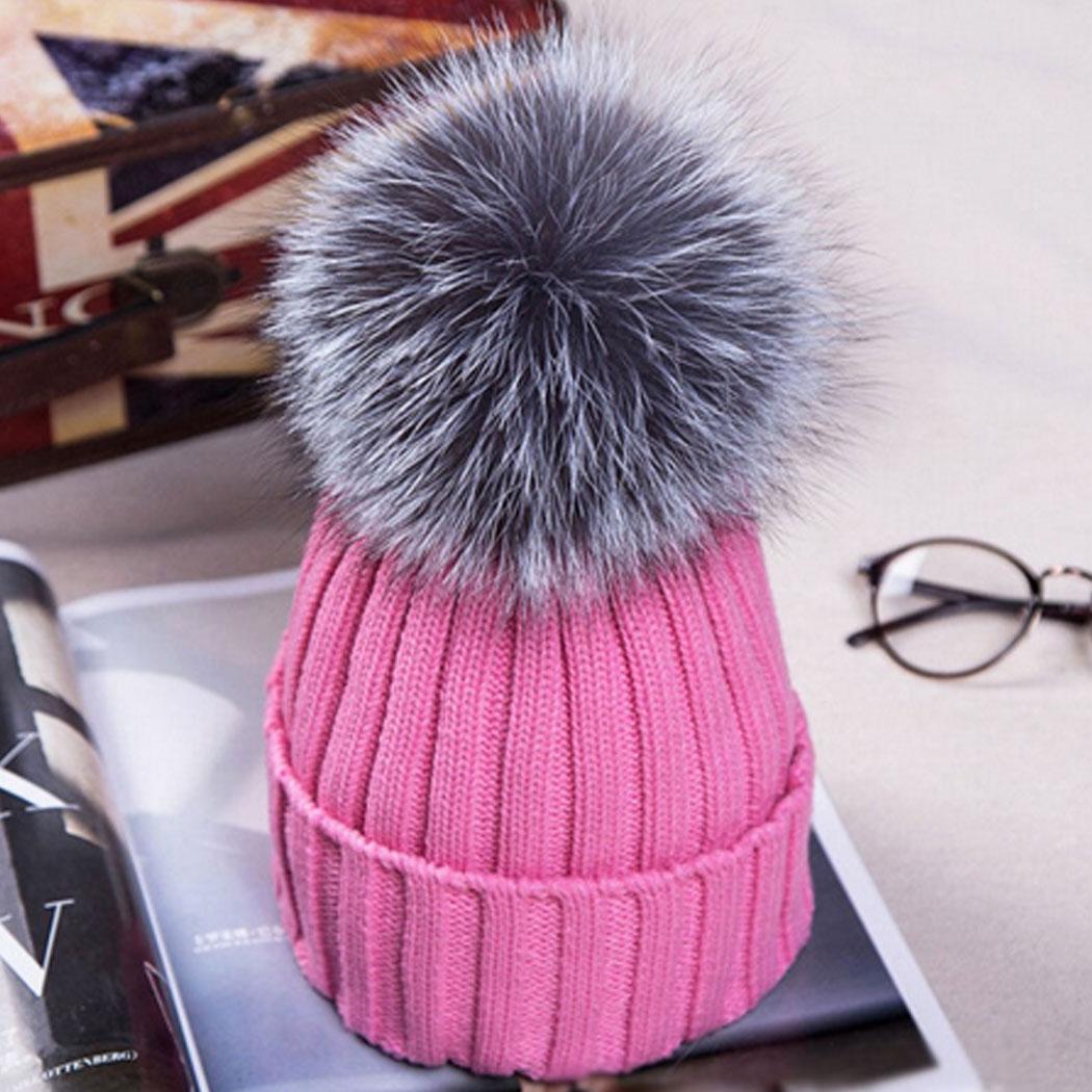 15cm Fox Fur Ball Pom poms winter hat for women girls knitted wool beanies  caps thick d9644da741