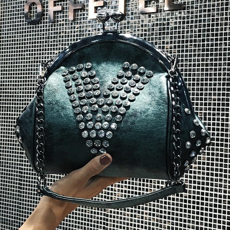 2019 Fashion Brand Women Bag PU Leather Diamonds Shoulder Bag Chain Shell Messenger  Bag Female Tote b51099c54e907
