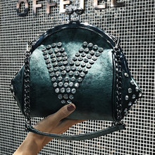2019 Fashion Brand Women Bag PU Leather Diamonds Shoulder Bag Chain Shell Messenger Bag Female Tote Crossbody Bags For Girls 344