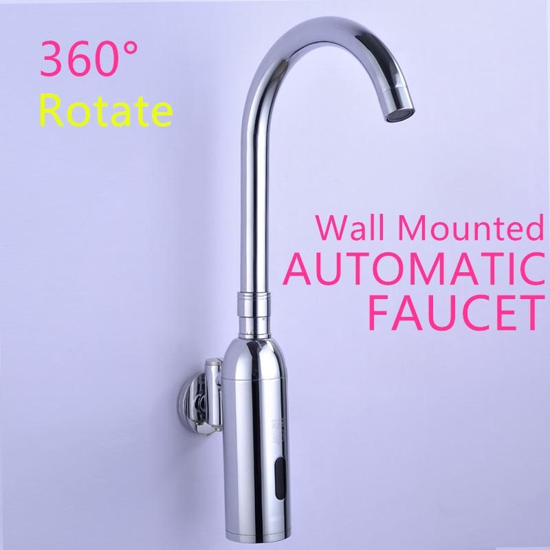 100%Brass Automatic Sensor Faucets Single Cold Water Mixer Sense Faucet Basin Hand Washer DC6V(AAA batteries) 100% copper cold and hot water mixer sense faucet automatic sensor faucets basin hand washer dc6v ac110 220v dona4215