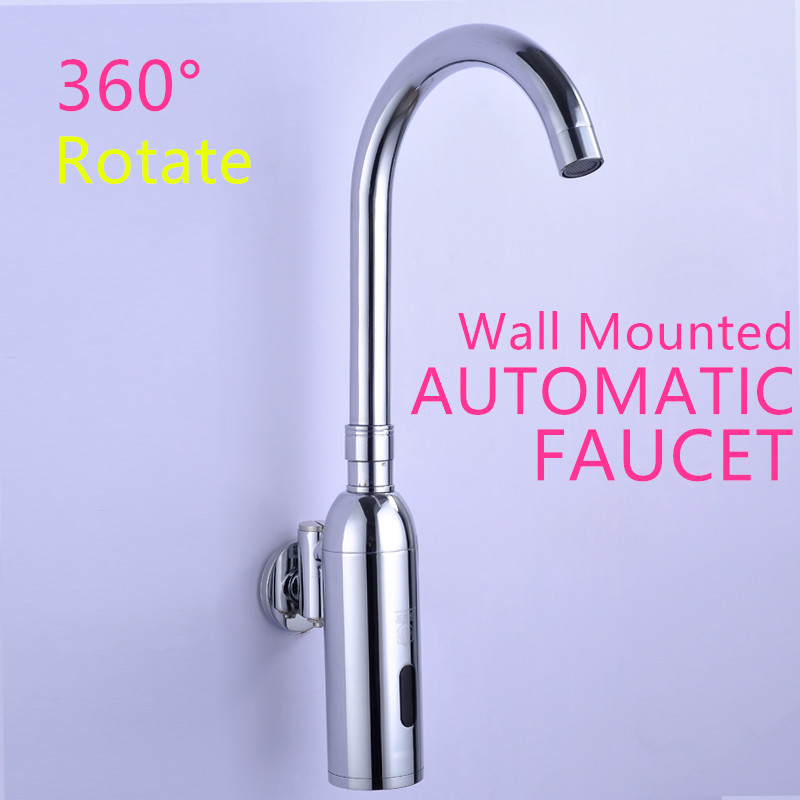 100%Brass Automatic Sensor Faucets Single Cold Water Mixer Sense Faucet Basin Hand Washer DC6V(AAA batteries)