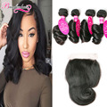 7A Peruvian Loose Wave With Closure 4 Bundles Peruvian Virgin Hair With Closure Wavy Loose Wave Curly Hair Bundles With Closure