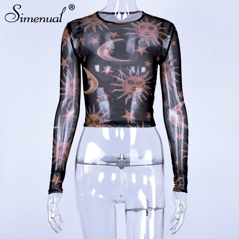 Aesthetic print women mesh crop top sexy transparent hollow out t shits long sleeve printing tee (8)