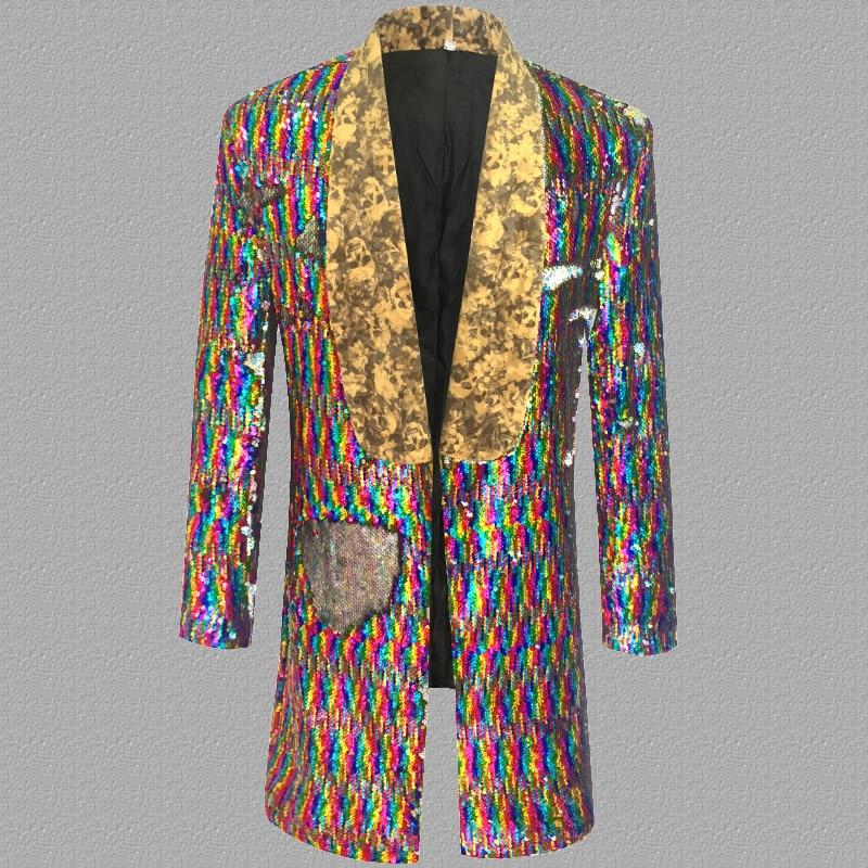 Suits & Blazers Confident Colorful Laser Sequins Blazer Men Suits Designs Jacket Mens Stage Singers Clothes Dance Star Style Dress Punk Masculino Homme