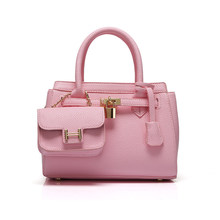 Occident Style Elegant Handbag Women Fashion Litchi Stria Leather Shoulder Bag Attached A MINI Small Bag Luxury PU Lock Hand Bag