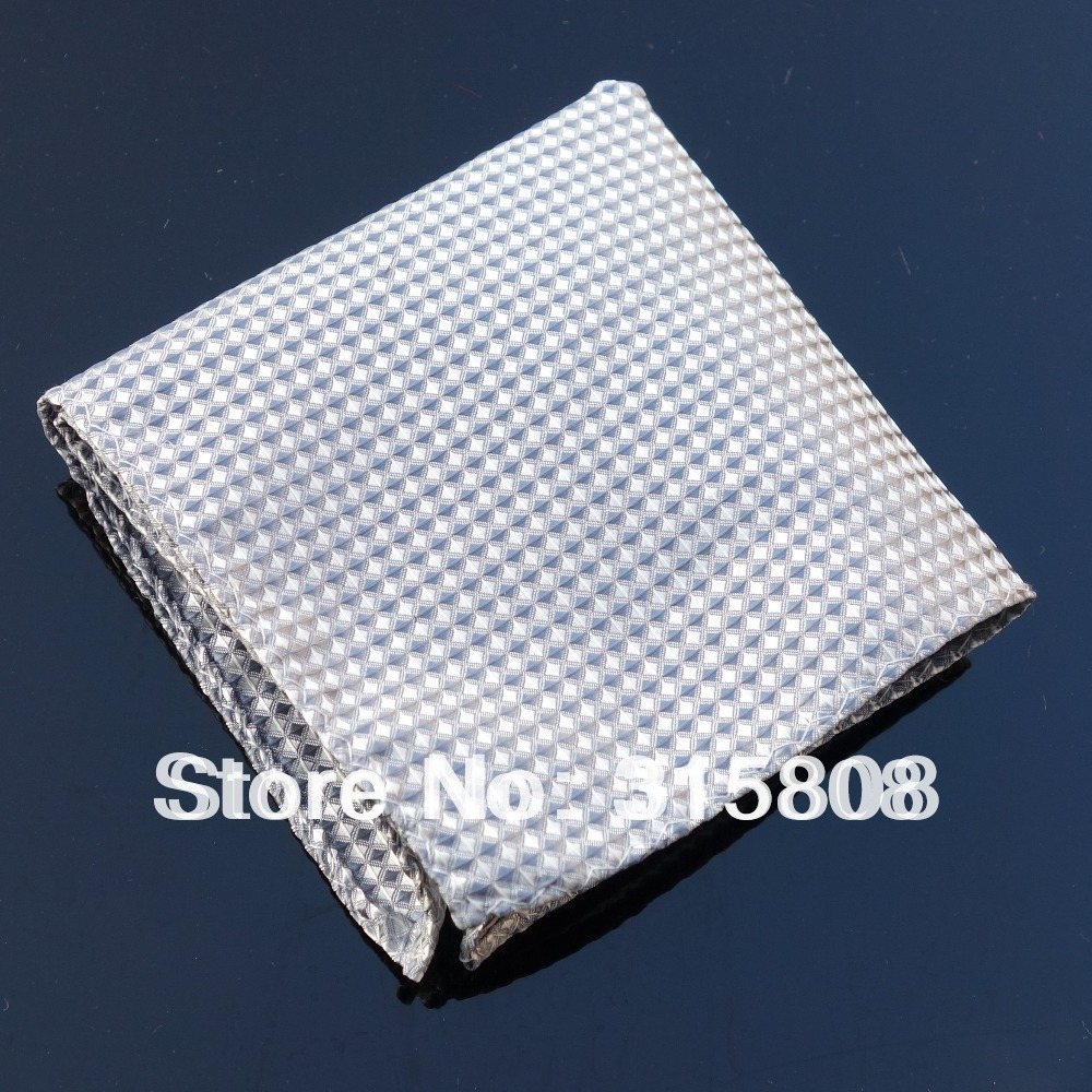 Ikepeibao Hanky Grey Checked  Men's Fashion Pocket Square Handerchief Wedding Party Handkerchief