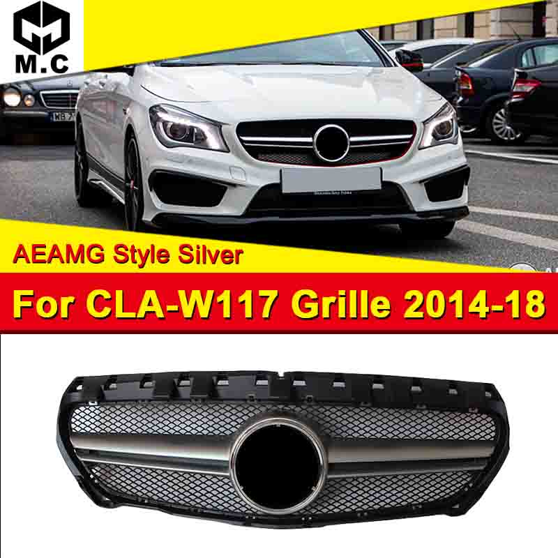 Se encaixa Para A CIA-Classe W117 Grade estilo Material ABS Prata Grills Para CLA180 AEAMG CLA200 CLA250 Malha do Amortecedor Dianteiro grille 2014-18