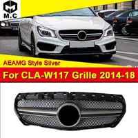 Se encaixa para cla-classe w117 grille aeamg estilo abs material grills de prata para cla180 cla200 cla250 grade de malha amortecedor dianteiro 2014-18
