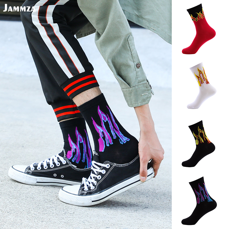 Men Fashion Hip Hop Design Red Flame Pattern Crew   Socks   Lifelike Jacquard Fire Classic Street Skateboard Cotton Long   Sock   Sporty