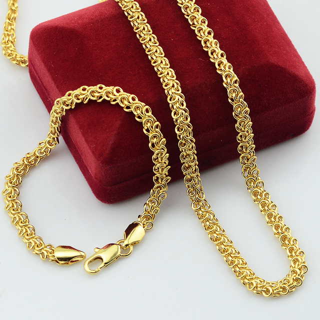 Fashion Long Men Women Unisex Yellow Jewelry Set Yellow Gold Filled