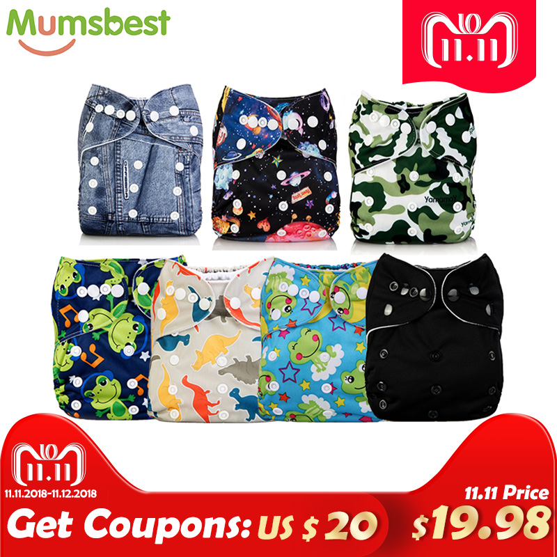 [Mumsbest] 11.11 Big promotion 7 Pcs/Lot Pocket Printing Baby Cloth Diaper Baby Boy Nappies No inserts Waterproof Washable Nappy big promotion 100