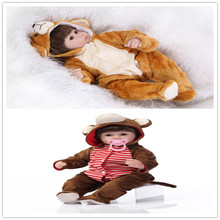 "New Design 43cm About 17"" Silicone-Reborn-Baby-Doll With one-piece Animal style clothes Hot Sell Brinquedos Beneca De Silicone"