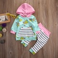 Girls Outfit Long Sleeve Warm Winter flower Printed Hooded Hoodies kids Girls Clothing Infant Clothes 0-3Y