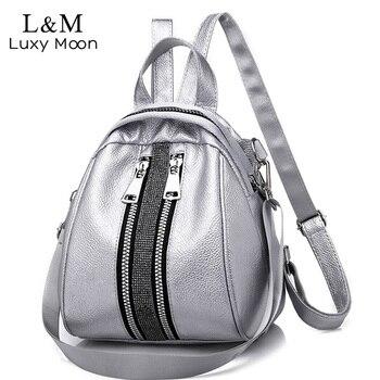 b40d43f6a5b5 Для женщин рюкзак высокое качество PU кожаные рюкзаки для  девочек-подростков Женский школьная сумка рюкзак