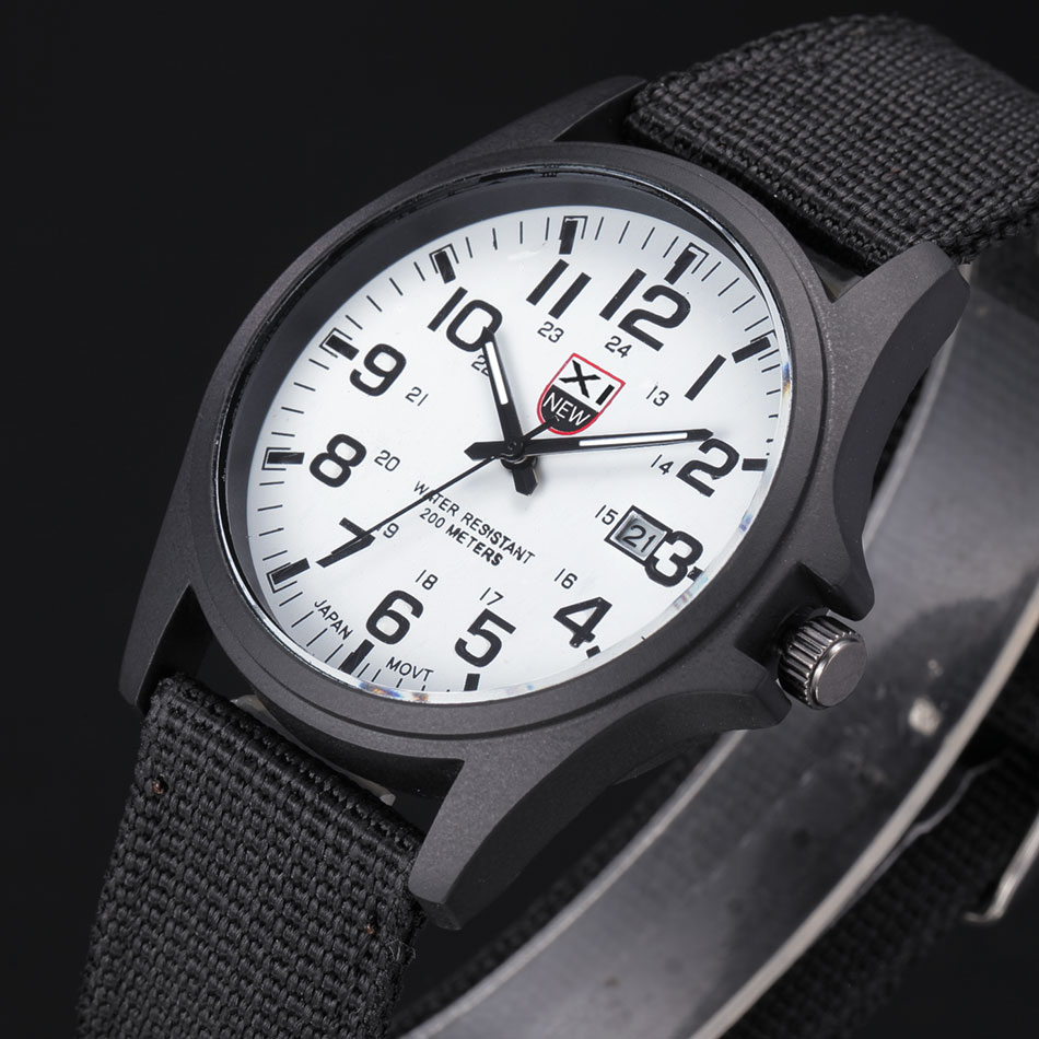 XINEW 2018 Solider Military Army Mens Sport Style Watches Nylon Band Black Quartz Wristwatch 5 Colors relogios masculinos marca|watch julius|canvas quotes|canvas pad - title=
