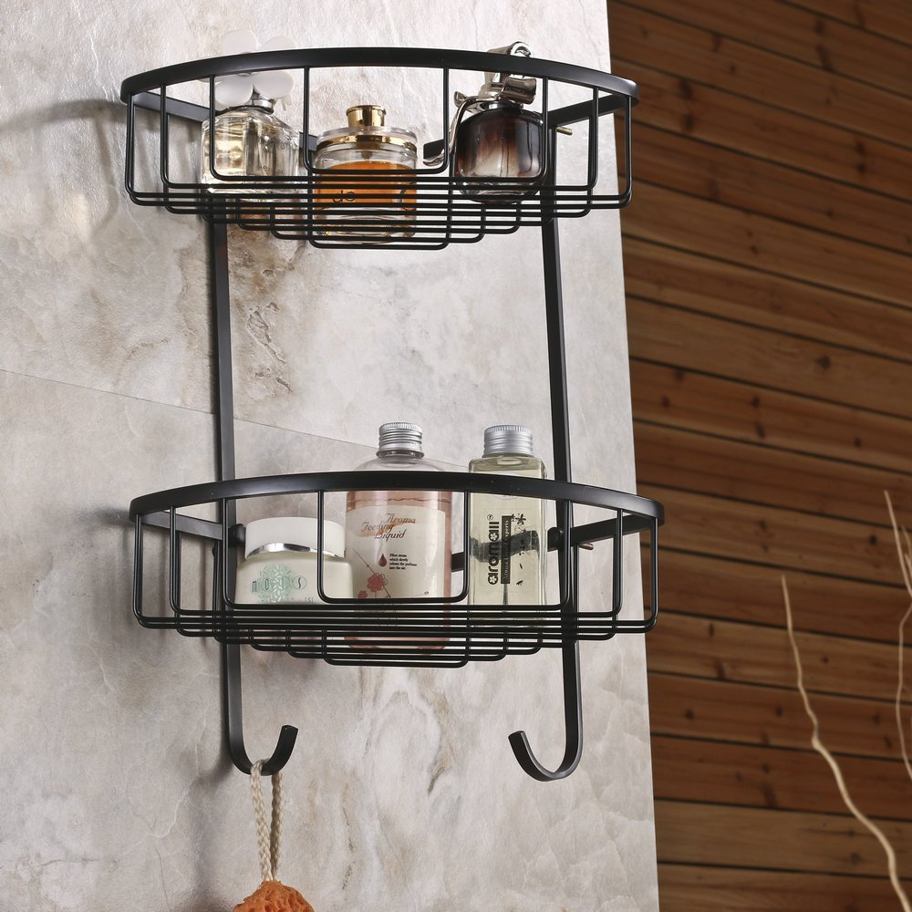 Wall Mounted Brass Double Tiers Corner Shower Caddies Cosmetics ...