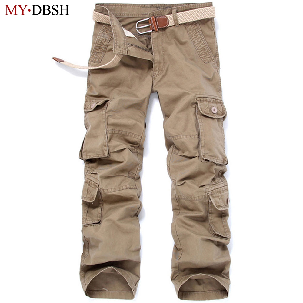 2018 New Style Men Cargo Pants Fashion big pockets decoration men Casual trousers easy wash male autumn army pants plus size 46 ...