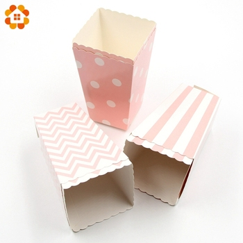 New! 12PCS/Lot Popcorn Box/Cup Pink Theme Party Decoration For kids Happy Birthday Christmas Wedding Party Baby Shower Supplies