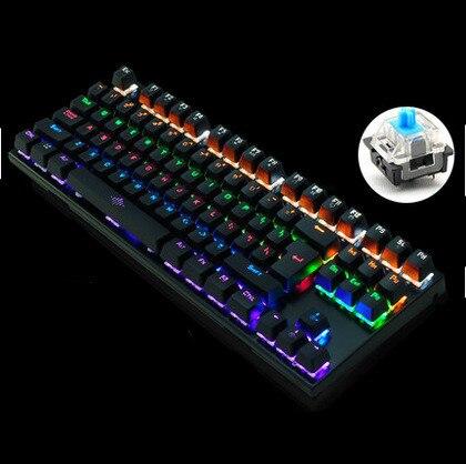 Backlit Gaming Mechanical Keyboard Colorful LED Keypad usb Wired Game Keybord 26 Keys Anti-ghosting Free Russian sticker