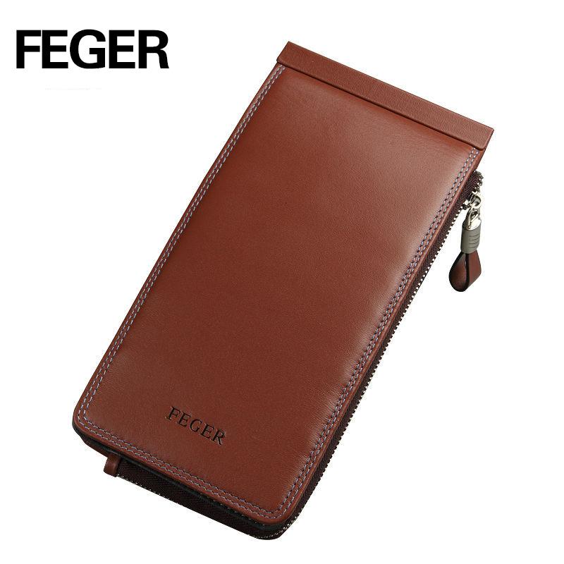 Prix pour FEGER L310 long portefeuille type haute qualité véritable cuir de crédit aux entreprises carte titulaire hommes multi fente pour carte portefeuille carte protecteur