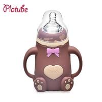 Newborn FeedingBottle Silica Gel Bottle With Handle Kid Straw Drinking Bottle Baby Bottles Nipples Baby Feeding