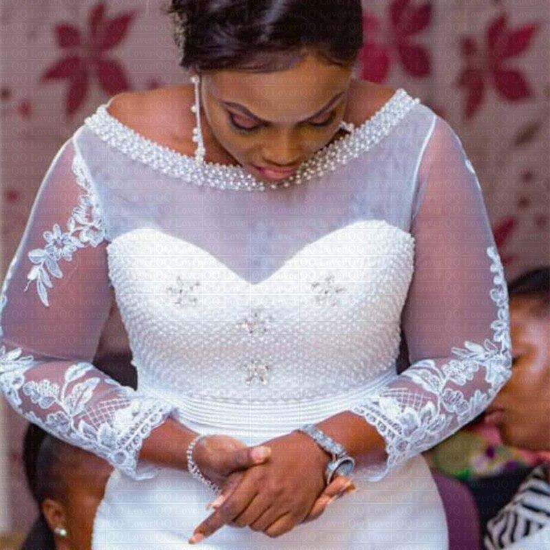 2019 New African De Luxe Perles Robe De Mariée Sirène Manches Longues Dentelle Robe De Mariée Robes De Mariée