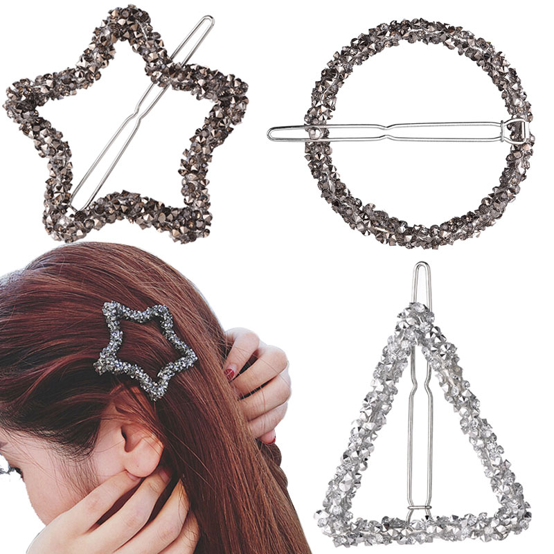 M MISM Girls Fashion Rhinestone Hair Clips Geometric Barrettes Accessories for Women Hairpins Luxury Hairgrips Female Headwear 24pc hair styling braid hair snap clips for girls headwear hair ornaments black snap hairgrips hairclip barrettes hairpins clips