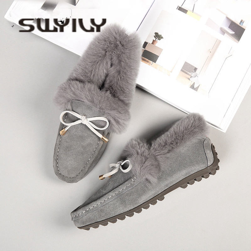 SWYIVY Flats Shoes Woman Rabbit Fur Warm Winter Shoes 2018 Female Snow Boots Genuine Leather Comfortable Cottom Padded ShoesSWYIVY Flats Shoes Woman Rabbit Fur Warm Winter Shoes 2018 Female Snow Boots Genuine Leather Comfortable Cottom Padded Shoes