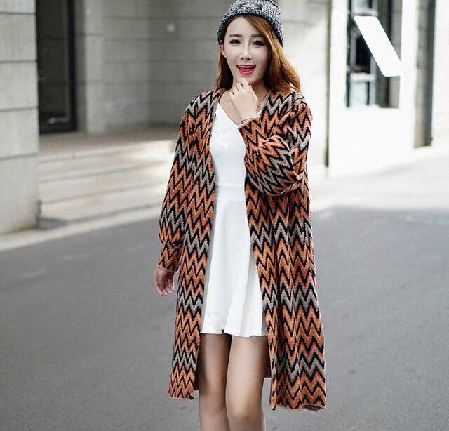 2015 mujeres de moda suéteres largos ocasionales llenas
