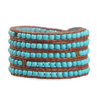 Personalized Woman Turquoise Beads Handmade Multilayers Genuine Leather Wrap Bracelets Silver Plated Charm Jewelry Accessories