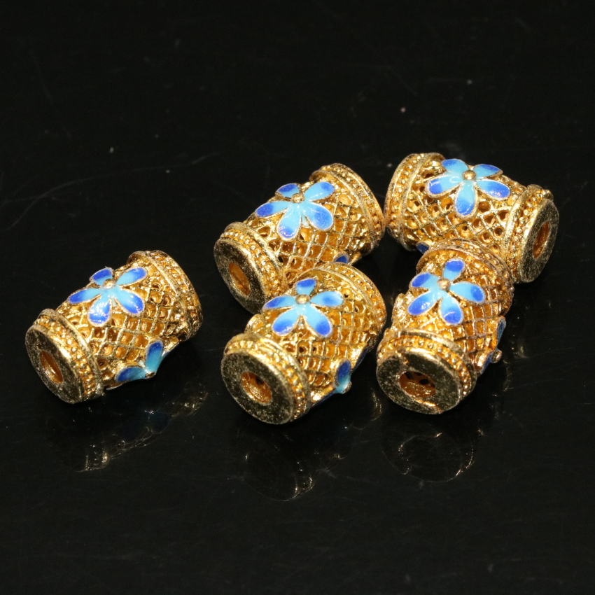 49320110d900f 18 type 5pcs gold plated cloisonne enamel accessories spacer beads carved  charms fit diy bracelet nacklace jewelry finding B2367
