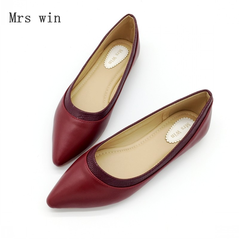 2018 Spring Autumn Shoes Women Ballet Flats Shoes Slip-On Woman Single Shoes Ladies Females Footwear Zapatos Mujer Plus Size Red vintage weave style spring autumn women casual loafers pointed toe slip on flats for woman ladies single shoes plus size gray