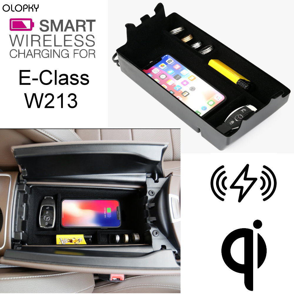 OLOPKY For Mercedes Benz MB QI Wireless charger Hidden Wireless charging  Phone Holder Storage Box For E Class W213
