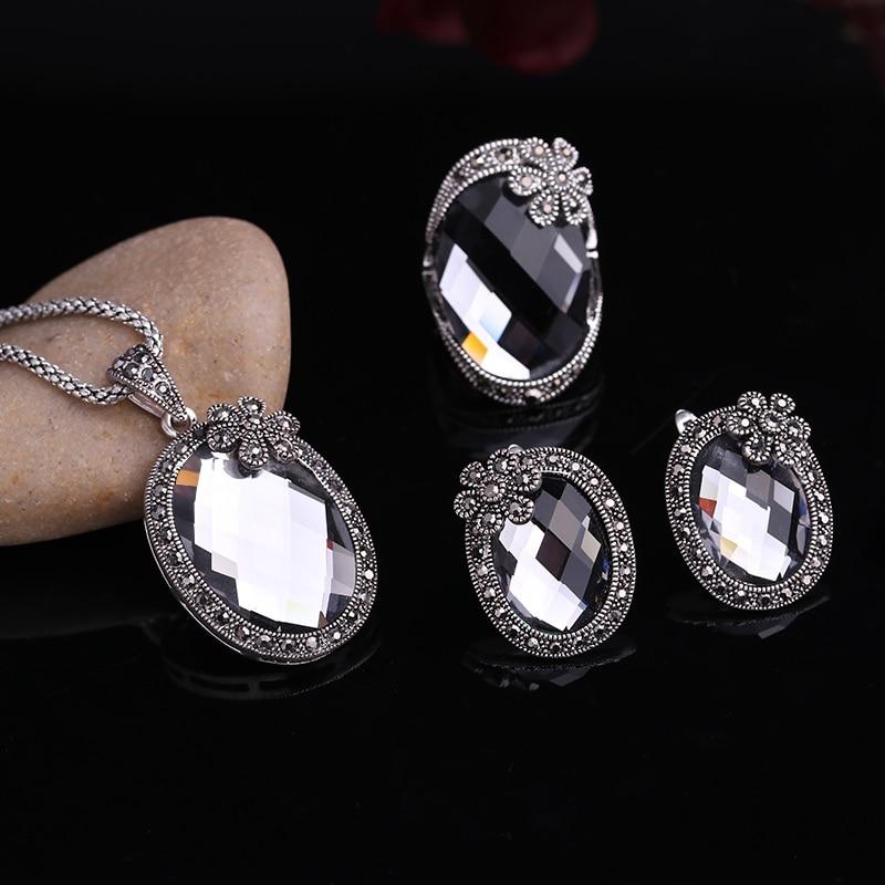Feelgood starinska srebrna boja Vintage set nakita cvijeće i siva - Modni nakit - Foto 2