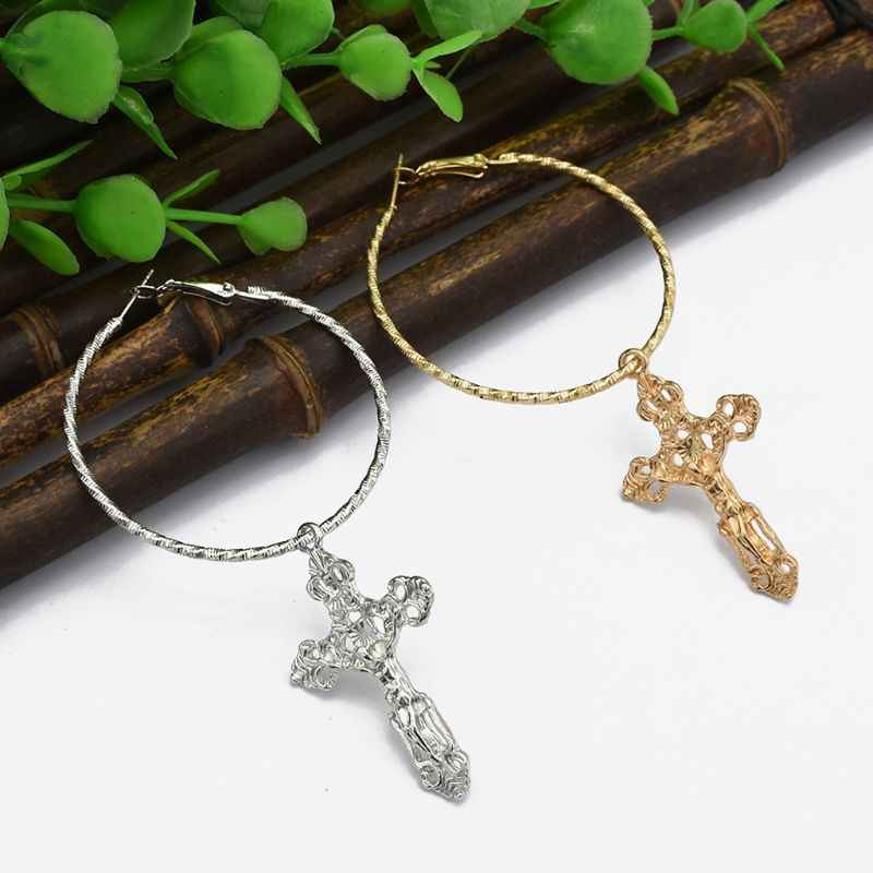 Cross Earrings Pendant Dangle Ring Exquisite Fashion Vintage Women Jewelry Charms Party Punk Vintage Luxury Europe Lady Elegant