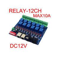 12CH interruttore del Relè dmx512 Controller RJ45 XLR, uscita a relè, DMX512 di controllo del relè, 12 vie interruttore del relè (max 10A) per led