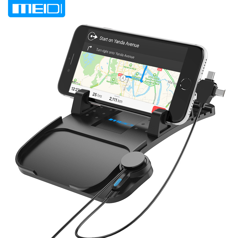 MEIDI Mobile Phone Holder Car Phone stands With Charger USB Cable For iPhone Samsung Type-c Adjustable Bracket Magnet Connector