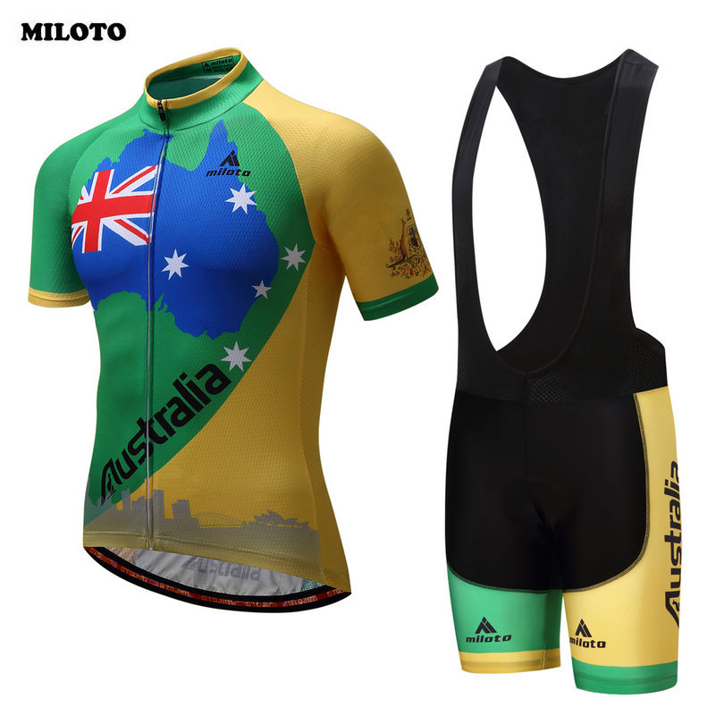 MILOTO Pro Team Cycling Clothes Ropa Ciclismo Mens Cycling Jersey Short Set Short Sleeve Cycling Clothing