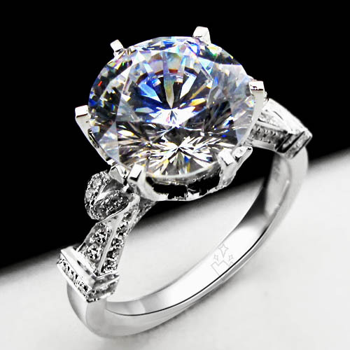 Top Luxury Royal Design 3 Carat Natural Moissanite Engagement Ring Pure 18k White Gold Wedding