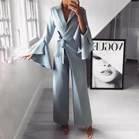 2019 Spring New Irregular Flared Sleeve Long Jumpsuits Lace Up Formal Knot Side Wide Leg Jumpsuit