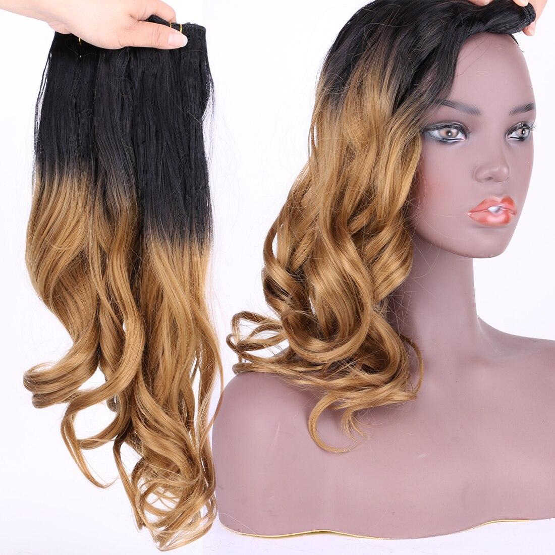 ondulado extensão do cabelo sintético tecer 100%