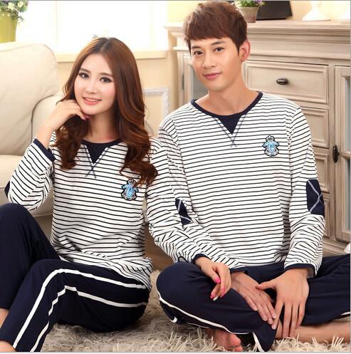 Spring Autumn 100% Cotton Couple Sleep&Loung Nightwear Stripes Pajama Sets Women and Men's Pajamas Comfy Sleepwear for Lover